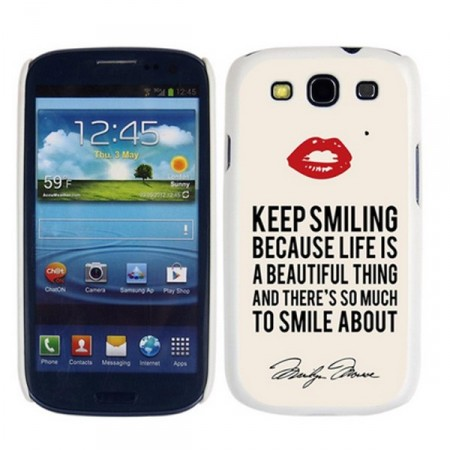 "Deksel Samsung S3 ""Keep smiling"""