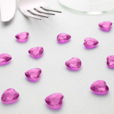 Diamanthjerter i akryl Rosa 12mm 100 stk