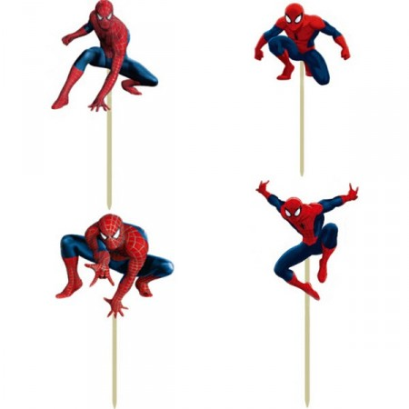 Cupcake Spiderman figurer 24 stk