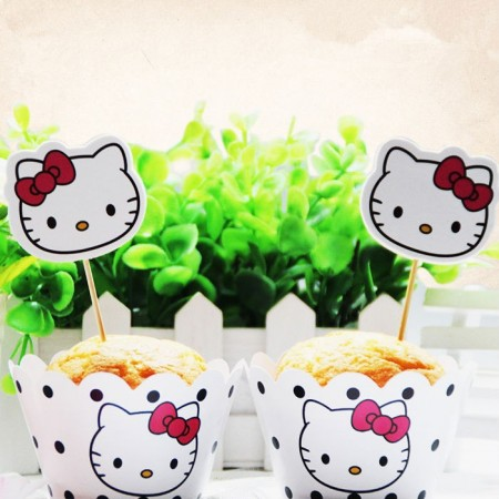 Cupcake Dekor Hello Kitty 4 stk