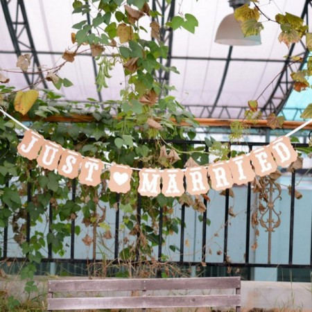 Just Married banner vintage